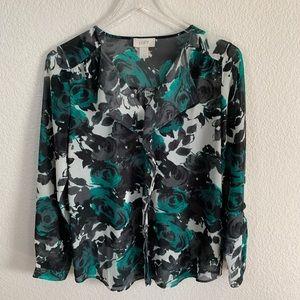 Loft sheer floral blouse